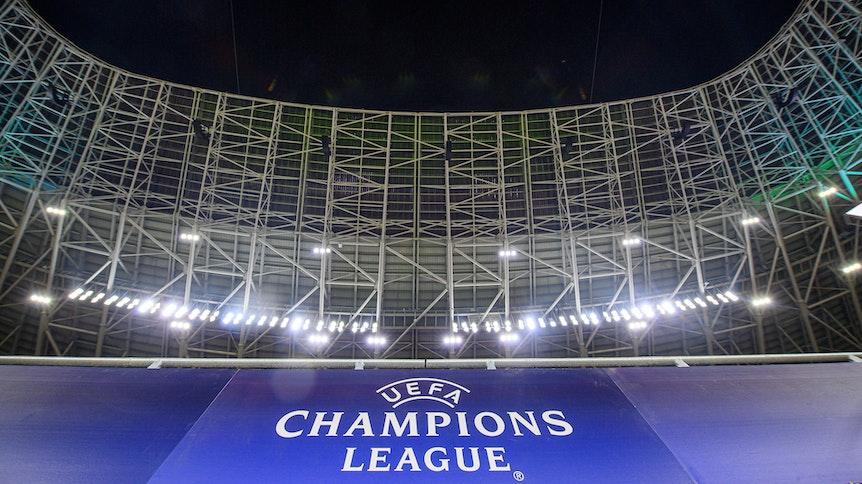Innenansicht der Puskas Arena in Budapest mit dem Logo der UEFA Champions League am 16. Februar 2020.