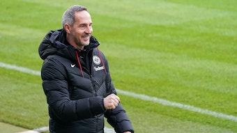 In Gladbach als möglicher Rose-Nachfolger gehandelt: Eintracht Trainer Adi Hütter im Bundesligaspiel von Frankfurt gegen Hoffenheim am 07. Februar 2021