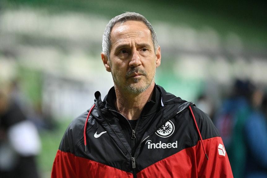 Trainer Adi Hütter, auf diesem Foto am 26. Februar 2021 in Bremen zu sehen, blickt auf das Spielfeld des Weserstadions.