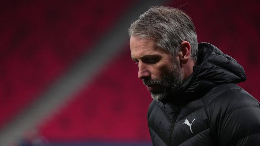 Gladbach-Trainer Marco Rose, auf diesem Foto in der Budapester Arena am 16. März 2021 zu sehen, gerät angesichts der sportlichen Talfahrt der Fohlen-Elf immer mehr in die Kritik.