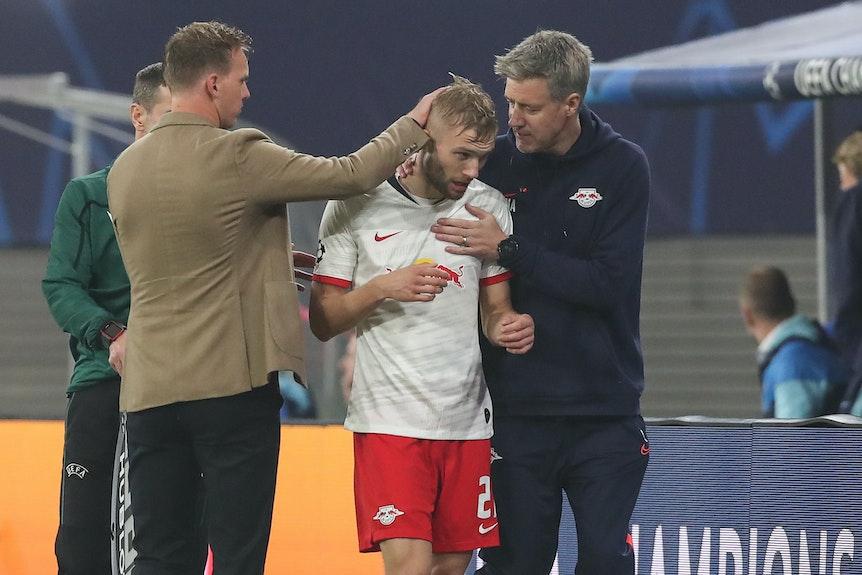 Konrad Laimer könnte bei RB Leipzig auch das Saisonaus drohen.