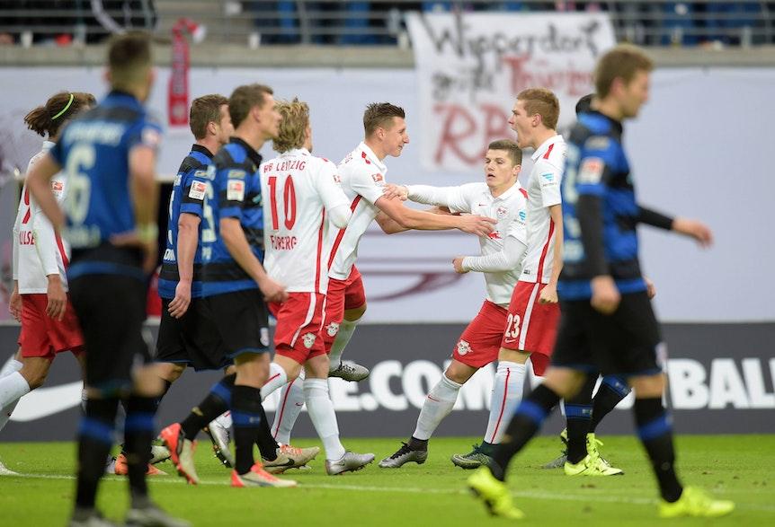 Sabitzer, Forsberg, Halstenberg und Orban spielten schon 2015 zusammen bei RB Leipzig.