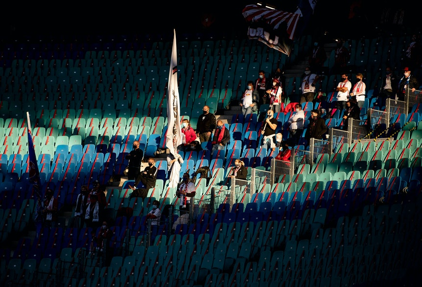 Fans im Cluster: Gegen Hertha am 24. Oktober durften bei RB Leipzig letztmals Zuschauer ins Stadion.