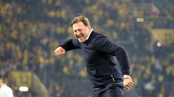 """Erster """"Meistertitel"""" für RB Leipzig: Mit dem 3:2-Sieg bei Borussia Dortmund holte sich das Team von Ex-Trainer Ralph Hasenhüttl 2017 das erste Mal den """"Gürtel""""."""