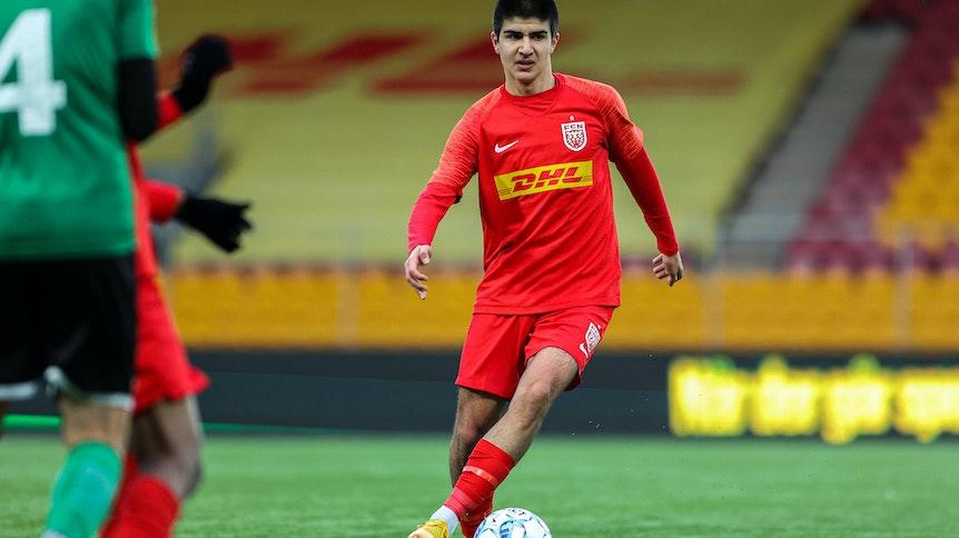 Zidan Sertdemir bei einem Spiel zwischen dem FC Nordsjaelland und Naestved BK am 28. Januar 2021.