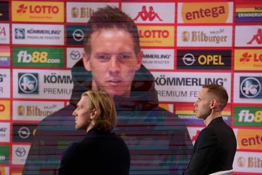 Die beiden Cetinkaya-Klienten Forsberg (r.) und Gulacsi im Aktuellen Sportstudio