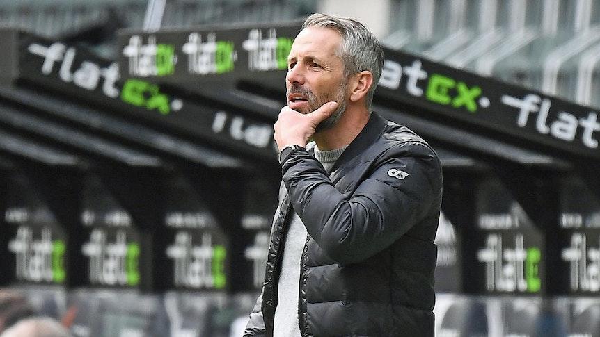 Trainer Marco Rose, hier zu sehen bei Gladbachs Bundesliga-Duell am 17. April 2021 gegen Eintracht Frankfurt.