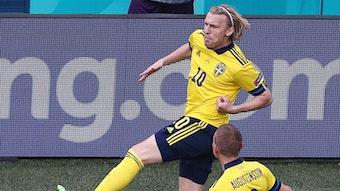 Emil Forsberg freut sich in dieser Szene über seinen zweiten Treffer im laufenden Turnier.