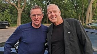 Roland Hohberg (r.) mit dem früheren RB-Sportdirektor Ralf Rangnick.