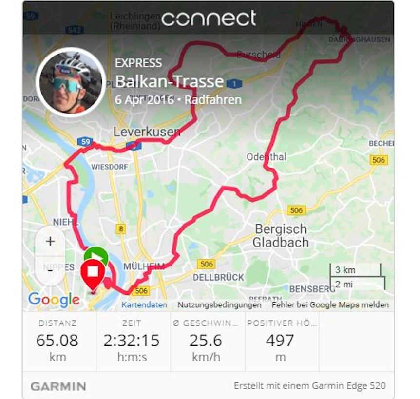 Karte zeigt eine Route an.