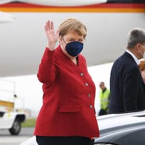 Merkel Ankunft in Newquay