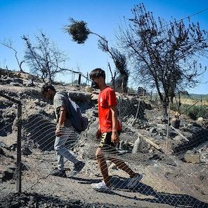 Feuer in Flüchtlingslager auf Lesbos