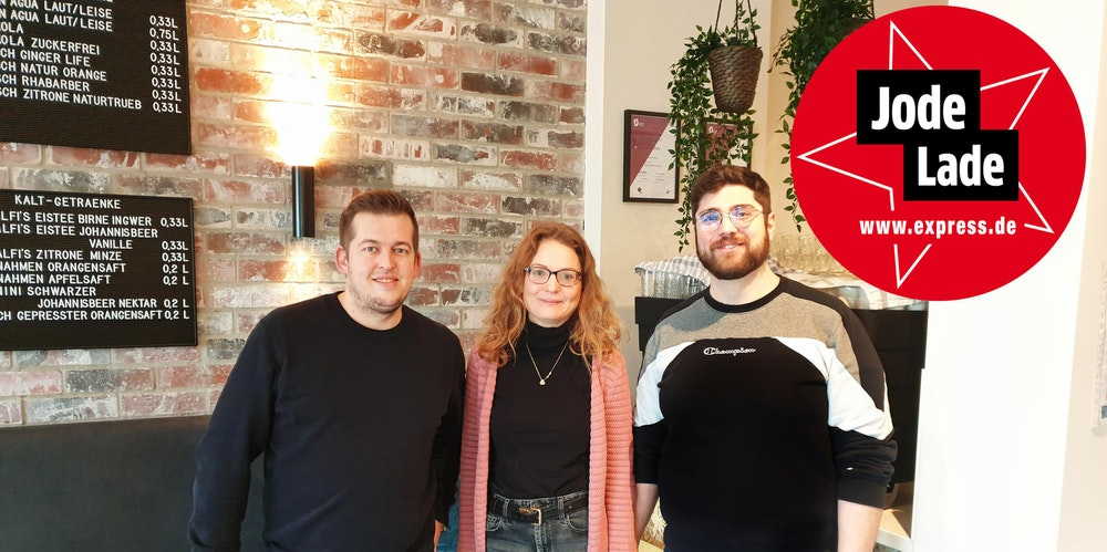 Dennis Malzkorn, Laura Heinze und David Heinze vom Café Gretchen auf der Aachener Straße.