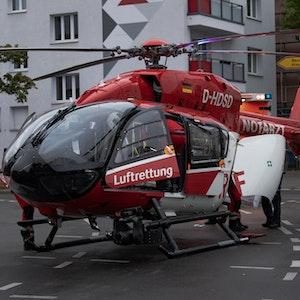 Ein Hubschrauber der Luftrettung bei einem Einsatz 2020 in Berlin.