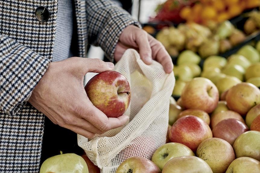Stoffnetze eignen sich perfekt für Obst und Gemüse.