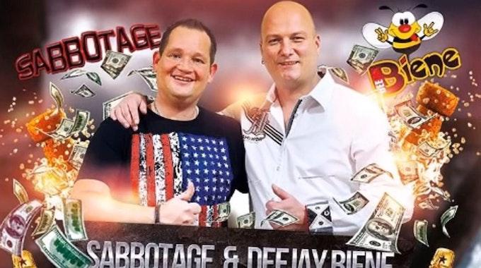 """Das Duo """"Sabbotage & Deejay Biene"""" bringt Freitag den Ballermann-Song """"Wir versaufen unser Geld"""" heraus."""