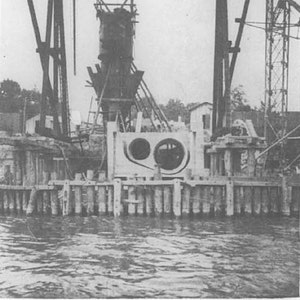 Arbeiten am Düker, der 1929 fertiggestellt wurde.