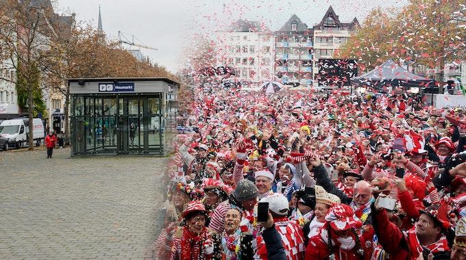 Der 11.11.2010 im Vergleich zum 11.11.2019 auf dem Kölner Heumarkt.