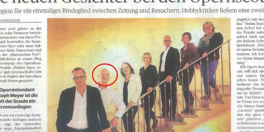 So berichtete die Rheinische Post über die Opern-Scouts. Ex-Skinhead Stefan Rasche (Kreis) steht neben Intendant Christoph Meyer.