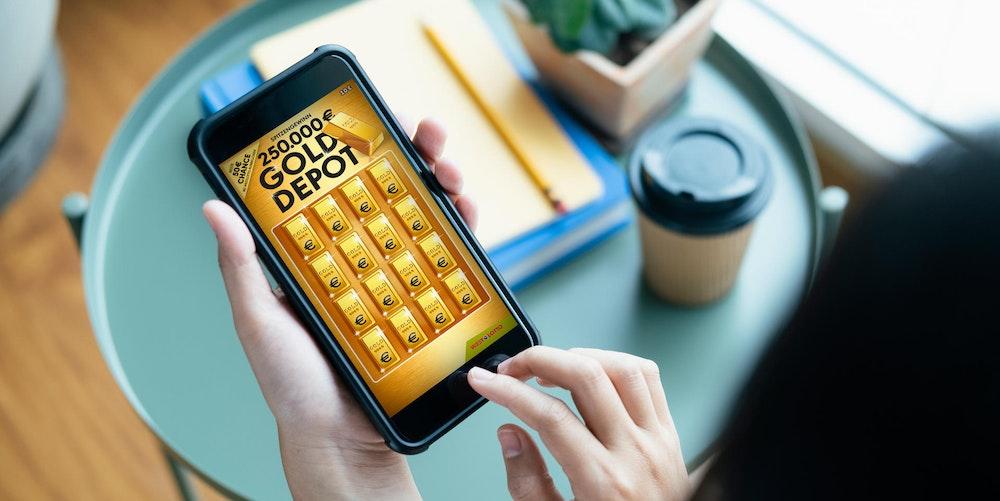 """Das Rubbellos """"Gold Depot"""" von WestLotto bietet 16 Chancen! Neben vielen kleinen Beträgen wartet ein Spitzengewinn von 250.000 Euro (1:1 Million)."""
