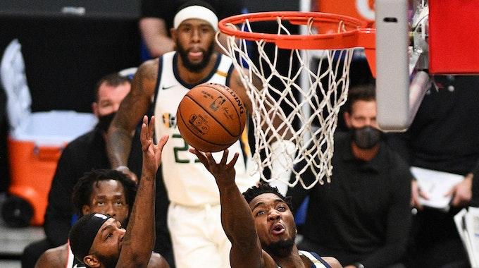 Utah-Jazz-Guard Jordan Clarkson beim Spiel gegen die Los Angeles Clippers
